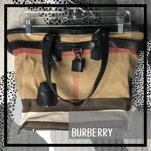 BURBERRY • Check Canvas Padlock Tote Bag
